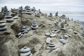 Cairns on a rock