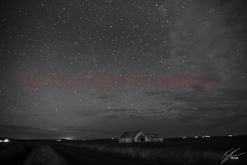 Starry Barn (Black & White)
