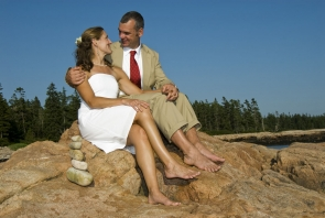 Couple sitting on rocks